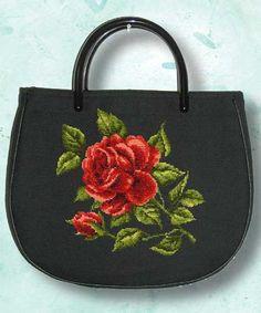 Red Rose 1 of 2 Embroidery Bags, Silk Ribbon Embroidery, Modern Embroidery, Cross Stitch Embroidery, Vintage Purses, Vintage Handbags, Art Bag, Purse Handles, Cross Stitch Rose