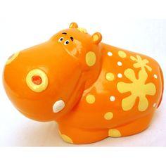 Ceramic Hippo Coin & Money Piggy Bank, Orange | eBay