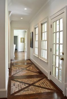 Great floors for an entry hall or mudroom casa quintal, casas de fazenda, r Entryway Flooring, Brick Flooring, Tile Entryway, Entry Hallway, Wood Floor Design, Brick And Wood, My Dream Home, Dream Homes, Home Remodeling