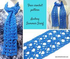 free crochet pattern, audrey summer scarf