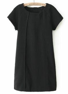 Black Short Sleeve Pleated Slim Straight Dress GBP£19.40