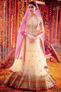 Off White and Pink Net Bridal Lehenga