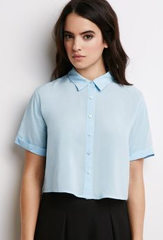 You're Going to Want EVERYTHING From Forever 21s Minimalist Section - Boxy Cropped Shirt in Pastel Blue, $12.90