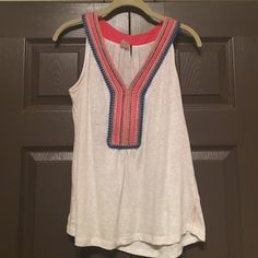 Anthropologie Top Super cute embroidered Anthropologie sleeveless top! In perfect condition! Anthropologie Tops Tank Tops