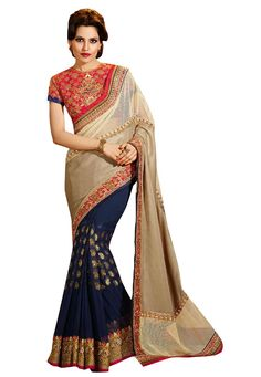 #Grey And #Navy #Blue #Georgette #Saree With #Blouse   #Grey And #Navy #Blue #Georgette #Saree #designed #with #Heavy #Zari,#Resham #Embroidery With #Stone #Work And Lace Border.  INR: 5,317.00  With Exclusive Discounts   Grab: http://tinyurl.com/jg4tth3