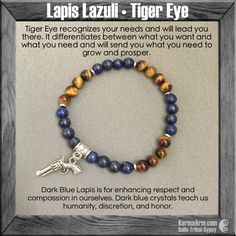 MANTRA: I can handle the changes around me. - 6mm Tiger's Eye Round Natural Gemstones - 6mm Lapis Lazuli Round Natural Gemstones - Tibetan Silver Pistol Charm - (4) Tibetan Silver Rondelle - Commercia