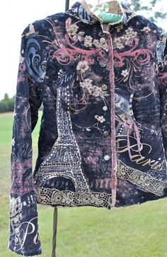 Bohemian Rustic Collage Jacket Paris Eiffel Tower by IzzyRoo