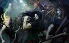 rock band cartoons | Dethklok heavy metal music cartoons hard rock band groups ...
