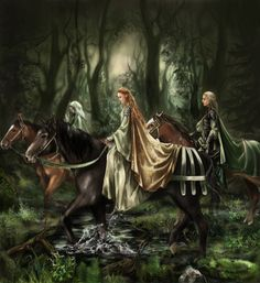 Knights of the Sacred Lady... and their dames. Or Sidhe. Love the ribbons on the horses and cloaks.