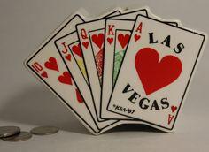 Vintage 1987 Las Vegas Piggy Bank Slots Casino Royal Flush Fan Hearts KSA White #KSA