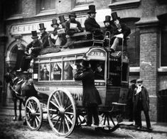 A horse omnibus in London late 19th century. Before the advent of motorized buses and subways buses like these took care of much of the short-distance commuting within American and British cities. The first British bus with a fixed route (as opposed to a stagecoach for hire) was established in 1824. Many of these lines were eventually outfitted with tracks on which the carriages would ride  to make pulling easier for the horses. By the turn of the century the horse-drawn buses were fading…