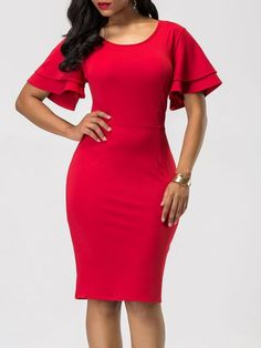 Shopping Round Neck Plain Ruffle Sleeve Bodycon Dress online with high-quality and best prices Bodycon Dresses at Luvyle. Lovely Dresses, Modest Dresses, Elegant Dresses, Casual Dresses, Short Dresses, Fashion Dresses, Dress Long, Sewing Dresses For Women, Clothes For Women