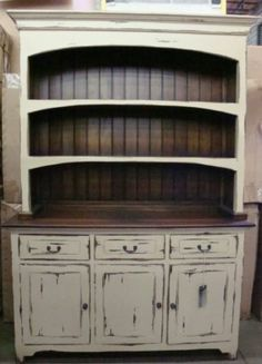 Farmhouse Open Hutch Buffet Cabinet Distressed Mahogany: this is how i'm painting my hutch Refurbished Furniture, Farmhouse Furniture, Repurposed Furniture, Furniture Makeover, Kitchen Table Redo, Kitchen Hutch, Kitchen Decor, Dining Hutch, Furniture Projects