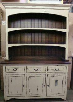 Farmhouse Open Hutch Buffet Cabinet Distressed Mahogany   eBay