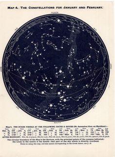 1955 december january february of northern hemisphere constellations original star map vintage celestial print. $35,00, via Etsy.