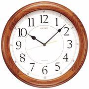 "Seiko QXA129BLH 13"" Round Dark Oak Case Wall Clock - Wall Clocks - Atomic, Analog, Digital, & Temperature Clocks"