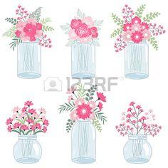 Wedding pink flowers in mason jars Stock Vector