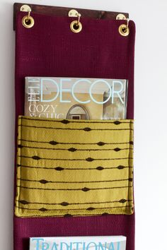 Fabric Wall Pocket Magazine Holder. Must make myself one or two! Could use in bathroom.