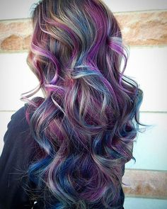 Image about girl in hair💇 by on We Heart It Creative Hair Color, Cool Hair Color, Hair Dye Colors, Wild Hair Colors, Peacock Hair Color, Vivid Hair Color, Hair Color Highlights, Rainbow Hair Highlights, Bright Hair