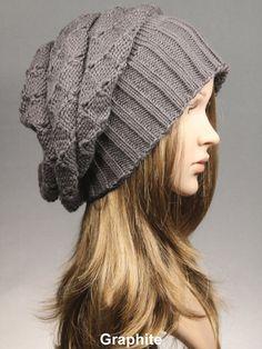 Knit Hat Women's Knit Hat Slouchy HatBlack Knit by VONANA on Etsy