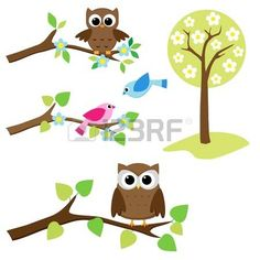 Blooming tree and branches with sitting owls and birds photo