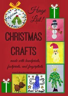 Handprint, Footprint, & Fingerprint  Christmas Crafts - Master List of all the ones we have done over the years #HandprintHolidays #handprintart #kidscrafts
