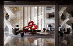 Sky Lobby at Four Seasons Hotel, Guangzhou, designed by HBA/Hirsch Bedner Associates.