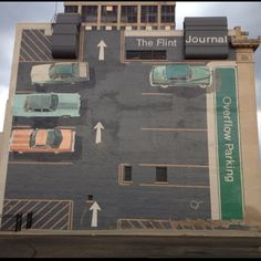 The Flint Journal,Flint, Michigan. (This is a painting on the SIDE of the building.)