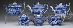 GROUP OF 6 BLUE TRANSFER TEAWARES.