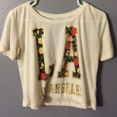LA crop top! Floral print in LA. Never worn. Not Brandy Brandy Melville Tops Crop Tops