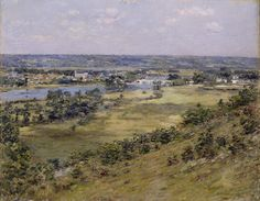 """""""Valley of the Seine,"""" Theodore H. Robinson, oil on canvas, 25 x 32 Addison Gallery of American Art. Theodore Robinson, American Impressionism, Impressionist Landscape, Claude Monet, American Artists, Oil On Canvas, Fine Art, Gallery, Image"""