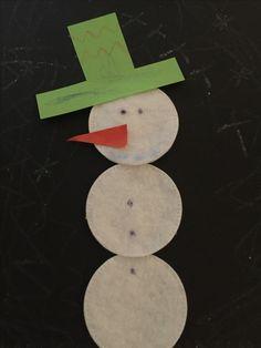 Sneeuwpop gemaakt van make-up watten.