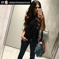 #Repost from the beautiful Mexican model, TV hostess &  former #NBL winner @AlejandraEspinoza  #LuxuryMochilas #LUXCHILAS • • •  #handmade #handbag #fairtrade #bohochila #crystals #leather #fringes #luxcelebrities #oneofakind #fashion #accessories #boho #luxury #luxe #bohochic #luxchilasgivesback #wefeedwayuuchildren #AlejandraEspinoza #univision More details  info@luxchilas.com