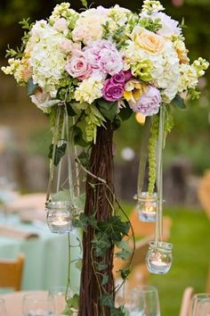 Flowers Centerpiece with hanging candles
