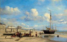 Edward William Cooke (1811-1880) Het strand van Scheveningen. Het strand van Scheveningen met viskopers. In het midden een hondenkar, die werd gebruikt om vis te vervoeren.  (Coll. Christies.com).