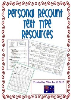 This 8 page product contains resources to be used with a Personal Recount genre/text type unit.