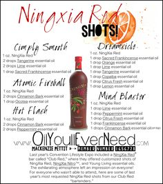 "Ningxia Red Shots!  These are some of the best recipes ever! You should definitely try this next time you take your morning ""shot""! If you have never had Ningxia Red, that should definitely be on your list! It is super good for you. Not all essential oils are safe to ingest. I do not recommend ingesting any other brand of Essential oils. This is for Young Living Essential Oils only. Make sure you read the bottles to make sure that it is safe to ingest. Member Number 1656728…"