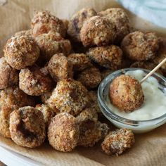These Crispy Baked Breaded Mushrooms are crisp and crunchy on the outside and soft and juicy on the inside. They are so snackable, you won't be able to stop eating until they're gone.   Appetizer   Crispy Mushrooms   Air Fryer Recipe   Mushroom Appetizer   Snack   Baked Mushrooms   Oven Cooked Ribs, Ribs On Grill, Breaded Mushrooms, Stuffed Mushrooms, Stuffed Peppers, Chicken Wing Sauces, Chicken Wings, Crispy Roast Potatoes
