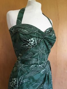 Vintage 1950s reproduction green Hawaiian halter sarong dress