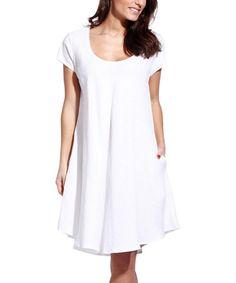 3c710f54a3 Eva Tralala White Linen Swing Dress - Plus Too