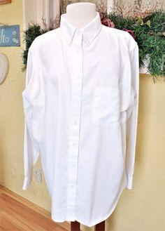 Superbe Cabin Creek 20 W Plus Wrinkle Free Oxford Cloth Shirt White Button Front  Pocket