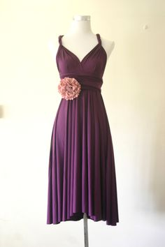 Bridesmaid Convertible Dress in Purple Grape by HerBridalParty, $44.00