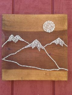 Mountain Range String Art Moon Art Rustic by CrookedTreeTraders