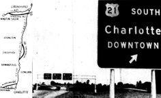 Charlotte Observer, September 1958 - Interstate 85 is open between Charlotte and Gastonia Cities In North Carolina, University Of North Carolina, Winston Salem, Charlotte Nc, Public Transport, Transportation, September, Urban, History