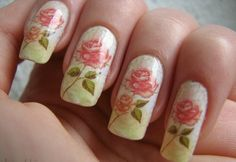 Pastel nail color with pink roses creativebeautyhealth.com