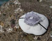 Gorgeous gray frayed rosette on a black skinny headband by my2SweetPeaz on Etsy, $10.00 USD. www.facebook.com/my2sweetpeaz