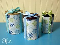 Cover sturdy cardboard containers (like oatmeal cans) with wrapping paper for gift holders or with contact paper or cloth for countertop storage.