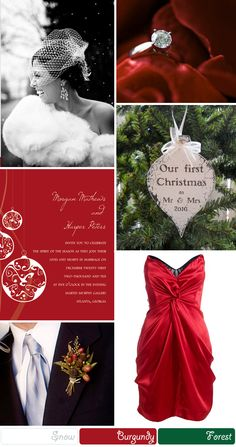 christmas wedding colours-except silver bridesmaid dresses and longer dresses with red flowers and accents