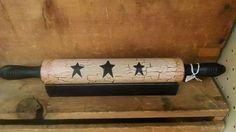 Primitive Crackle Black Star Rolling Pin & Holder