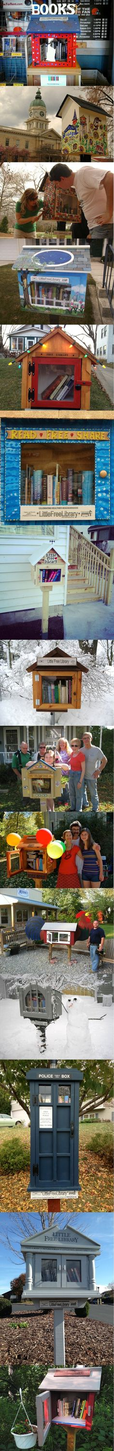 Free Little Library for the Neighborhood. http://www.mymodernmet.com/profiles/blogs/little-free-library http://www.littlefreelibrary.org/